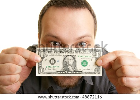 man holds the bill of one U.S. dollars - stock photo
