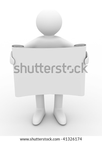 man holds the poster in a hand. 3D image - stock photo