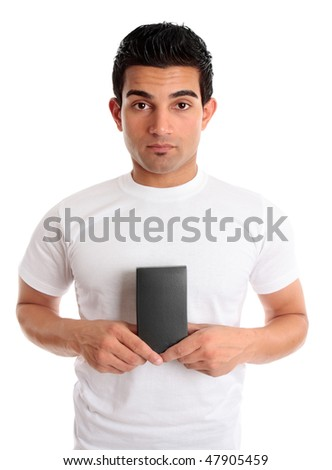 Man holds your retail product in his hands. The product is ready for your packaging design, or replace with your unique object. The man has neutral facial expression and looking straight ahead. - stock photo