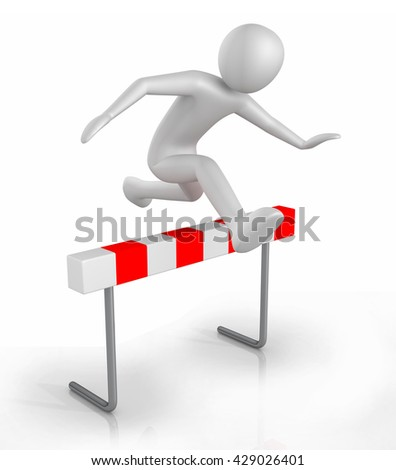 Man icon jumping over the hurdle obstacle - 3D illustration