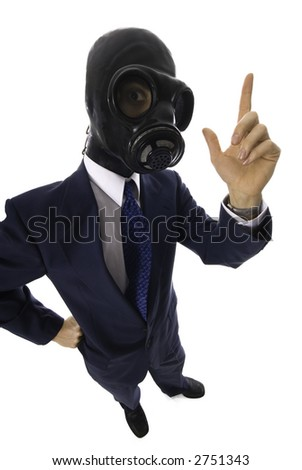 man in a blue suit with a latex mask with a question
