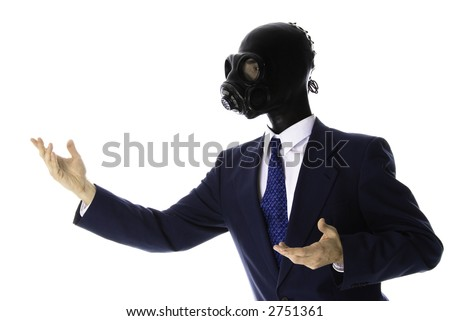 man in a blue suit with mask checking himself out