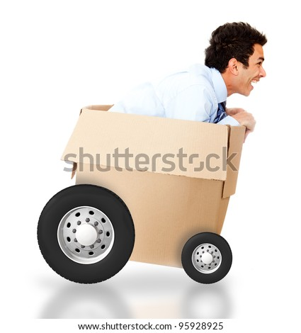 Man in a cardboard box for an express delivery - isolated over white - stock photo