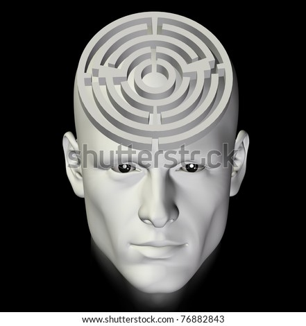Man in a complex maze of deep thought. 3d conceptual illustration. - stock photo