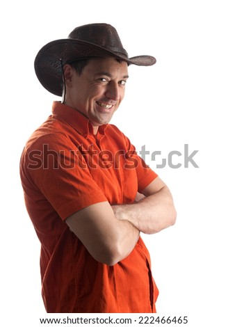 man in a cowboy hat isolated on white background - stock photo