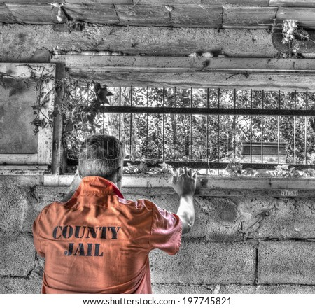 man in a dungeon in hdr tone - stock photo