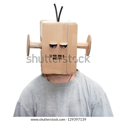 man in a funny suit cardboard robot - stock photo