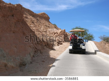 Man in a golf cart - stock photo