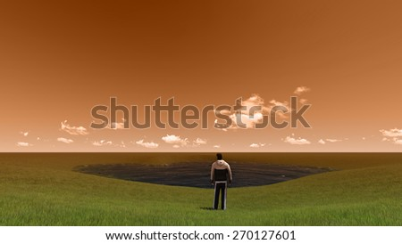 man in a grass made in 3d software - stock photo