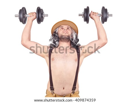 man in a hat exercising and doing fitness. . Lifts dumbbells. Isolated on a white background.      - stock photo