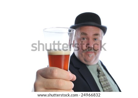 man in a hat holding a beer - stock photo