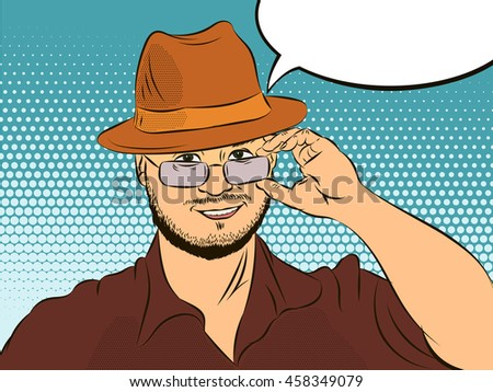 Man in a hat says welcome speech pop art comics retro style - stock photo