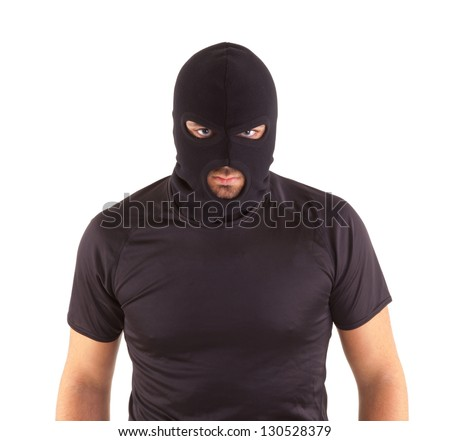 Man in a mask on white background - stock photo