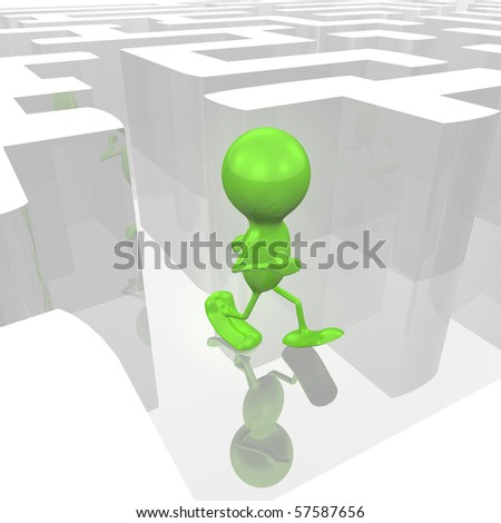 Man in a Maze - stock photo