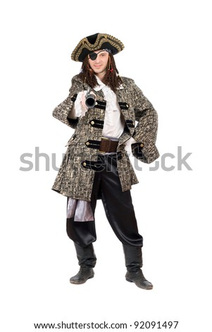 Man in a pirate costume with pistol. Isolated on white - stock photo