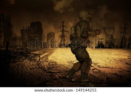 Man in a post apocalyptic scenario - stock photo