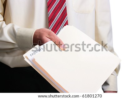 Man in a shirt and a tie giving a customer folder. Add your text to the folder. - stock photo