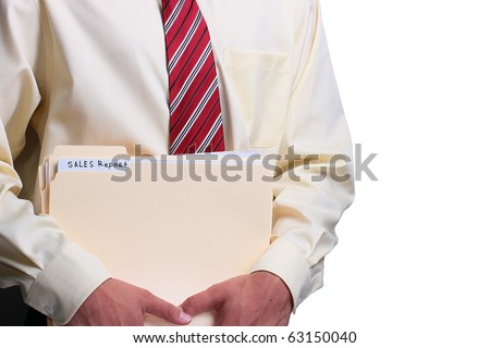Man in a shirt and a tie holding manila sales report folders. Add your text to the folder. - stock photo