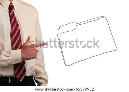Man in a shirt and a tie pointing to a drawing of a folder. Add your text to the folder. - stock photo