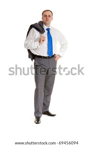 Man in a shirt and tie with a jacket over his shoulder - stock photo