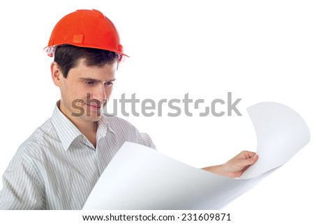 man in a shirt in orange construction helmet with blueprints in hand; isolate background - stock photo