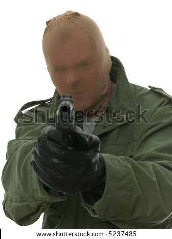 Man in a stocking mask aiming a handgun at you. - stock photo