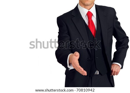Man in a suit and west welcomes you - stock photo