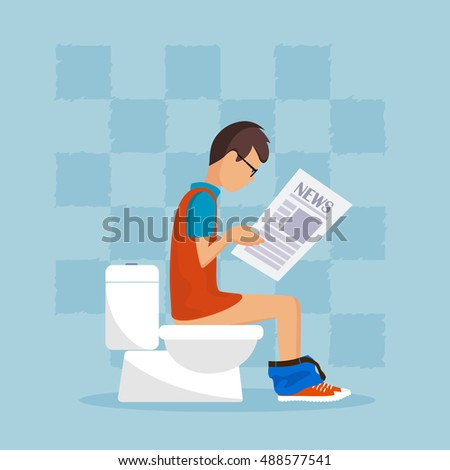 man in a toilet reads the press