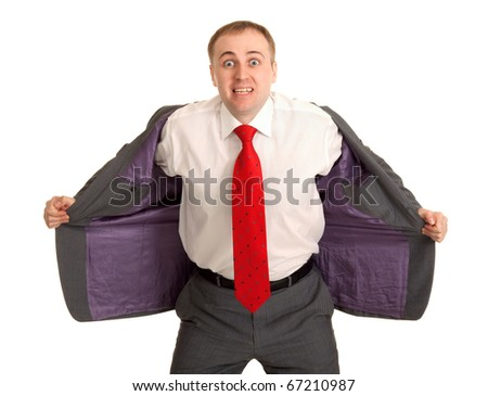 Man in a white shirt and red tie opens his jacket - stock photo