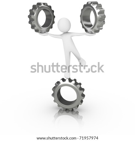 Man in balance with 3 gears - stock photo