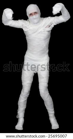 Man in bandage on the black background - stock photo