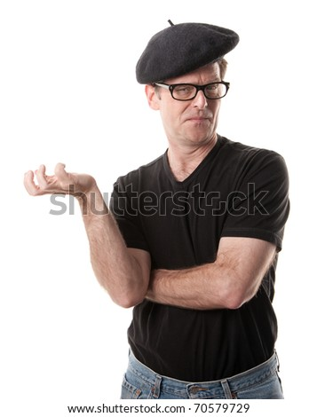 Man in beret holding nothing on a white background