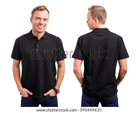Man in black button up shirt  - stock photo