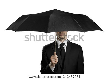 man in black costume with black umbrella,  special-service agent , on white background, isolated - stock photo