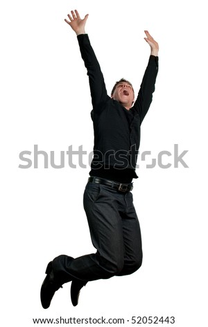 Man in black jumping in air - stock photo