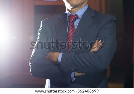 man in black suit with tie  - stock photo
