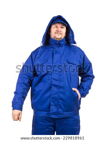 Man in blue jacket. Isolated on a white background. - stock photo