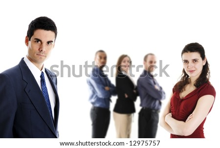 man in blue suit on isolated white with team - stock photo