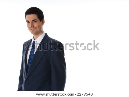 man in blue suit smiling on white background