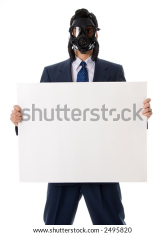 man in blue suit with mask holding a sign