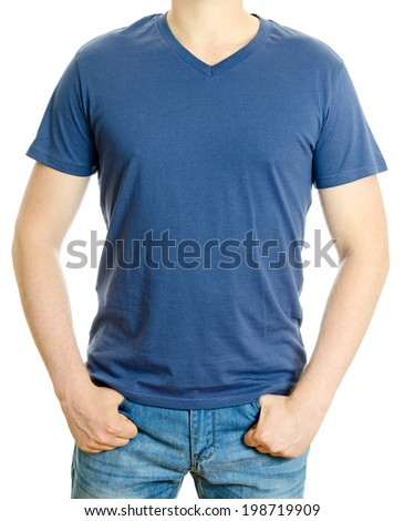 Man in blue t-shirt. Isolated on white background. - stock photo