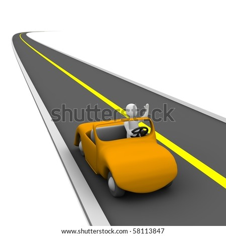 Man in cabriolet car and empty road. 3d rendered illustration. - stock photo