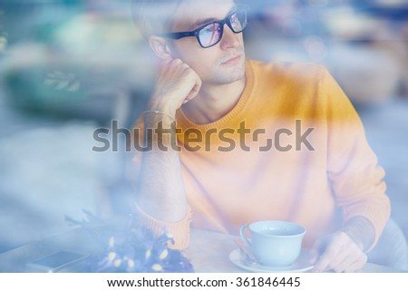 Man in cafe - stock photo