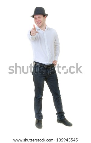 Man in Casual-style shows in the studio with his finger. Iolyat on white. - stock photo