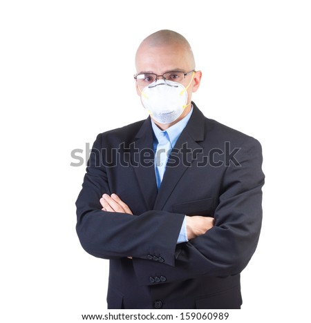 Man in casual suit wearing respirator mask isolated on white background. - stock photo
