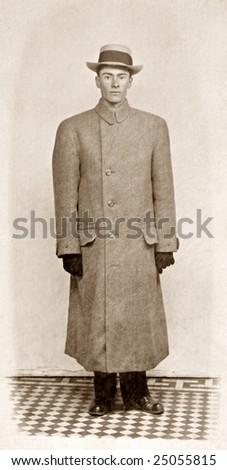 Man in Coat (noise added) Antique Photo - stock photo