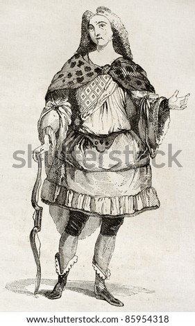 Man in costume old illustration. By unidentified author, published on Magasin Pittoresque, Paris, 1842 - stock photo