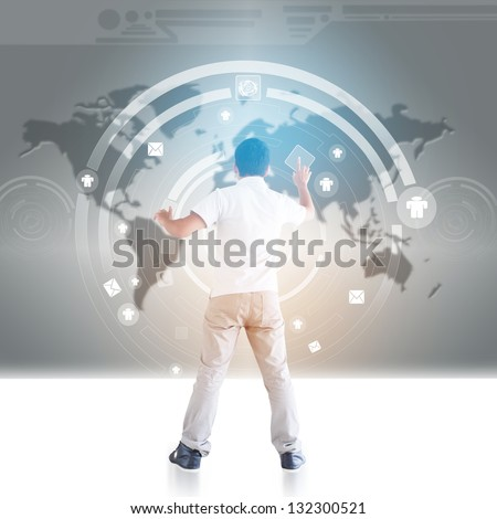 Man In Cyberspace  Part 2 - stock photo