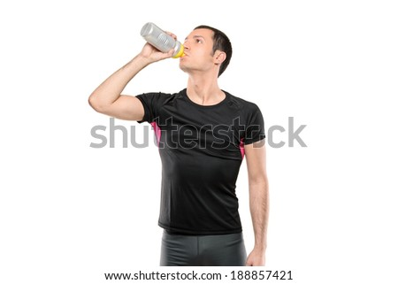 Man in cyclist clothes drinking water isolated on white background - stock photo