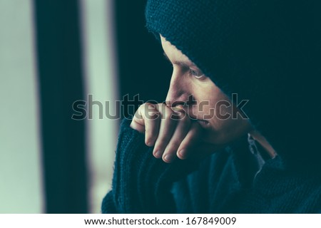 Man in depression - stock photo